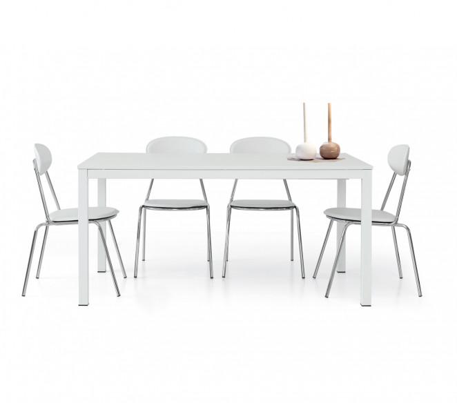 Tavolo allungabile bianco Ivo con sedie