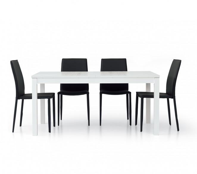 Tavolo in legno 160x90 allungabile bianco frassinato Matteo
