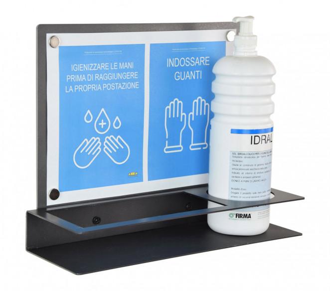 Dispenser da parete porta gel-guanti in ferro con pannello illustrativo Pro-Live - MIT Design Store