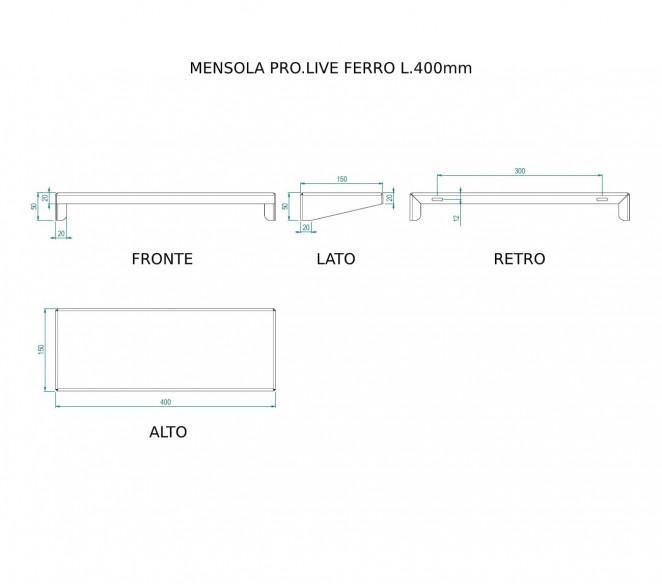 Disegno Tecnico Mensola PRO.LIVE in Ferro porta igienizzante - MIT Design Store
