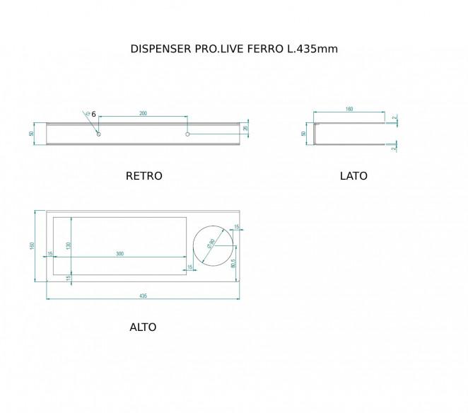 Disegno tecnico dispenser igienizzante con porta guanti PRO.LIVE Fe - MIT Design Store
