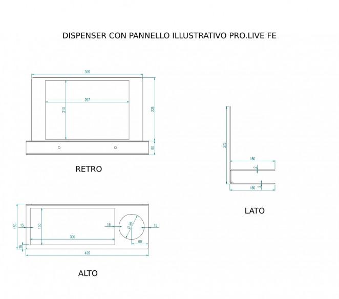 Disegno tecnico porta dispenser a parete con pannello illustrativo PRO.LIVE Ferro - MIT Design Store