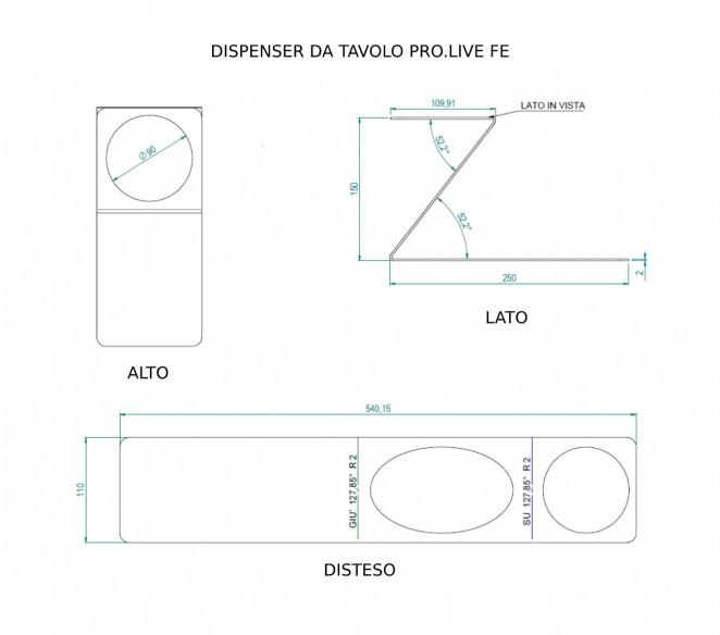 Disegno tecnico Dispenser da tavolo PRO.LIVE in ferro - MIT Design Store