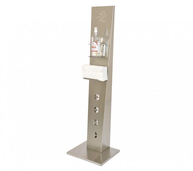 Piantana porta dispenser per gel disinfettante mani in acciaio ionx PRO.LIVE - MIT Design Store