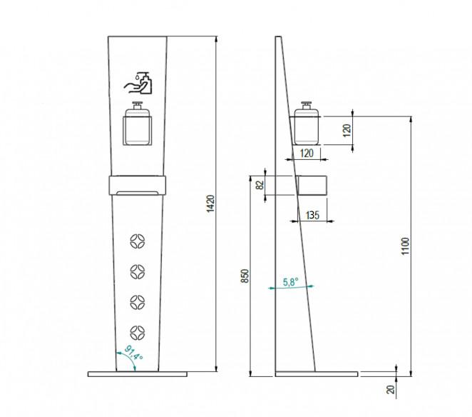Disegno Tecnico Colonna in acciaio inox PRO.LIVE - MIT Design Store