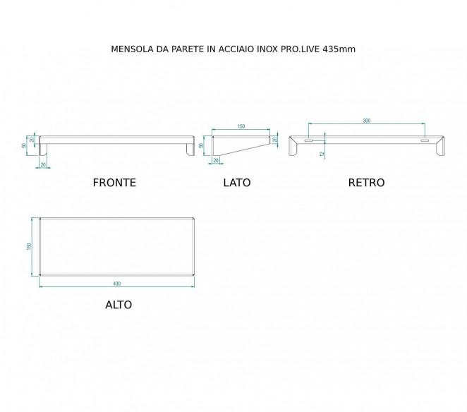 Disegno tecnico mensola da muro in acciaio inox