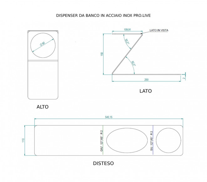 Disegno tecnico dispenser da tavolo in acciaio inox Pro.Live