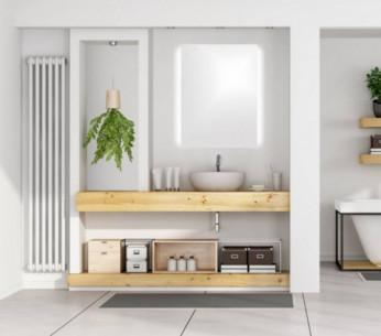 Specchio per il bagno su misura retroilluminato con luce led ai lati verticali Tosca MIT Design Store