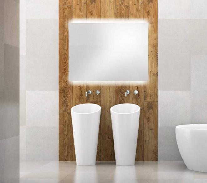 Specchiera bagno su misura retroilluminata sopra e sotto Sofia MIT Design Store