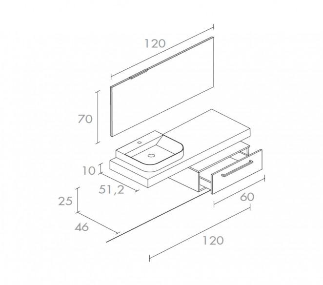 Disegno tecnico composizione bagno Zosma-MIT Design Store