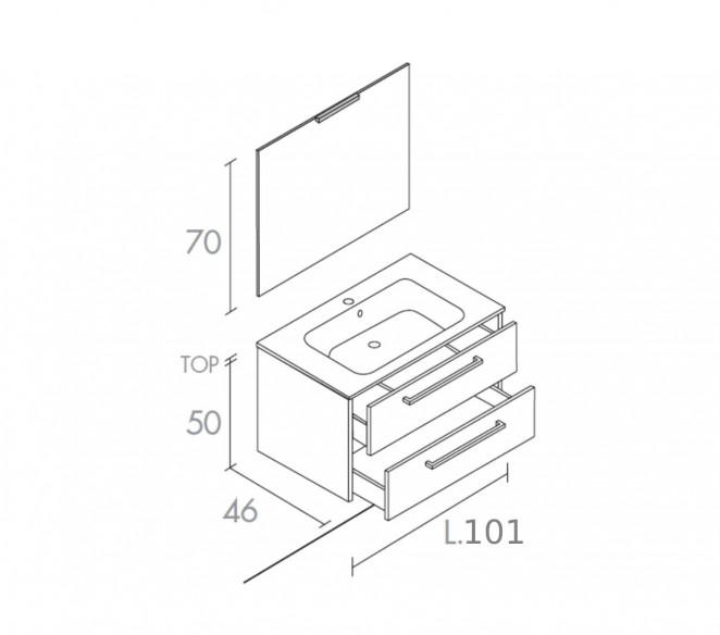 Disegno tecnico composizione bagno Mizar- MIT Design Store