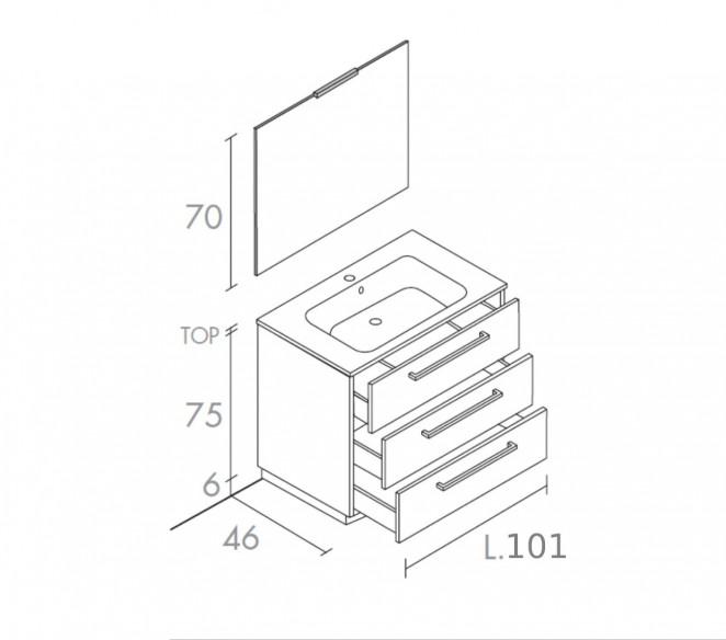 Disegno tecnico composizione a terra Vega- MIT Design Store