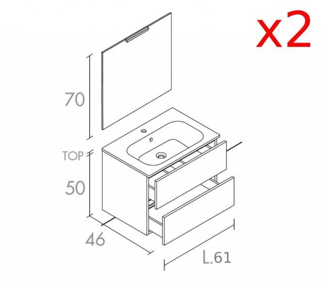 Disegno tecnico composizione bagno Izar-MIT Design Store