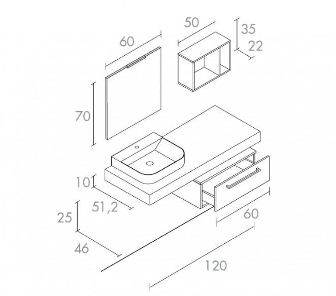 Disegno tecnico composizione bagno Fenice-MIT Design Store