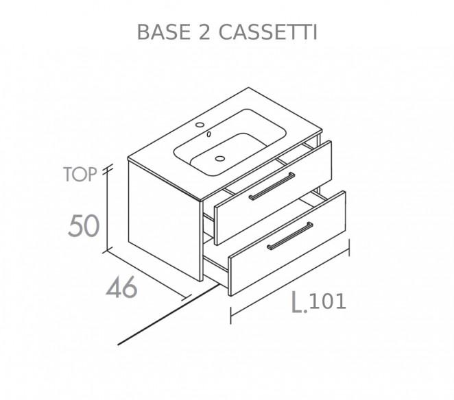 Disegno Tecnico mobile bagno 2 cassetti Mizar