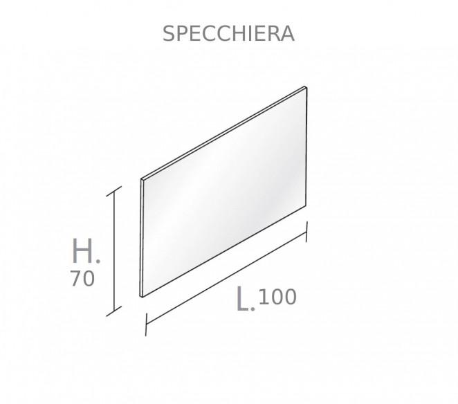 Disegno Tecnico Specchiera bagno per composizione Mizar