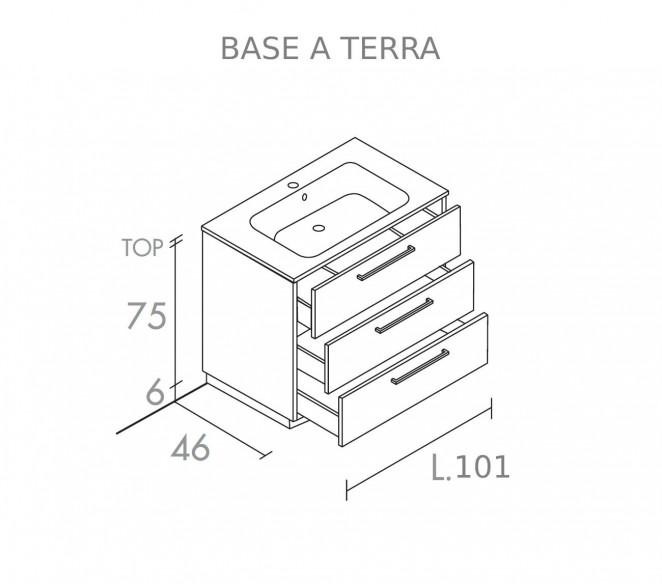 Disegno Tecnico base a terra 3 cassetti Vega