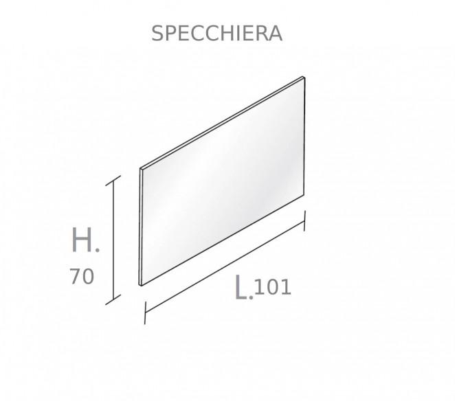 Disegno tecnico specchio bagno composizione Vega