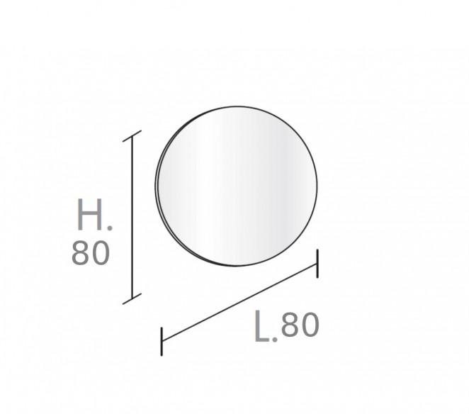 Disegno tecnico specchiere d.80cm