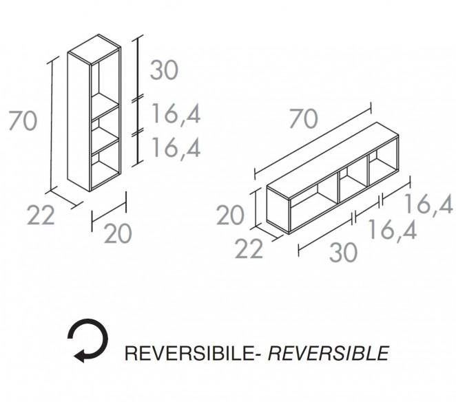 Disegno tecnico pensili laterali composizione Gemma - MIT Design Store