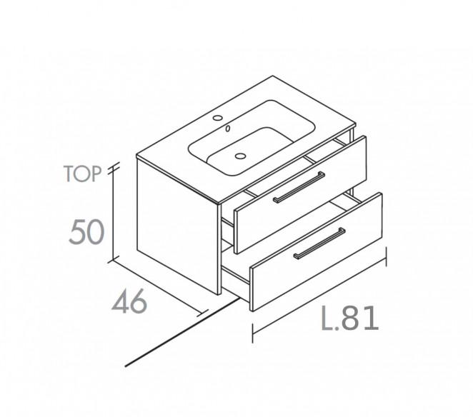 Disegno tecnico mobile bagno 2 cassetti composizione Maia