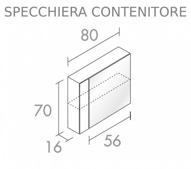 Disegno tecnico specchiera contenitore composizione Maia