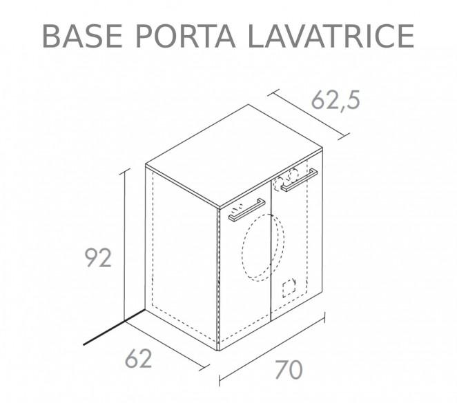 Disegno tecnico base porta-lavatrice composizione bagno Maia