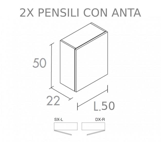 Disegno tecnico pensili laterali composizione Alya MIT Design Store