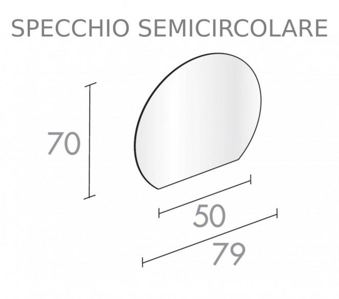 Specchio semicircolare per composizione bagno Chara