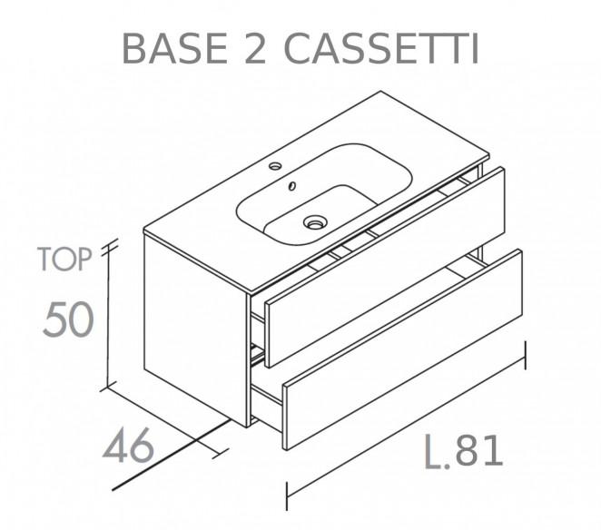 Disegno tecnico mobile bagno 2 cassetti composizione Chara