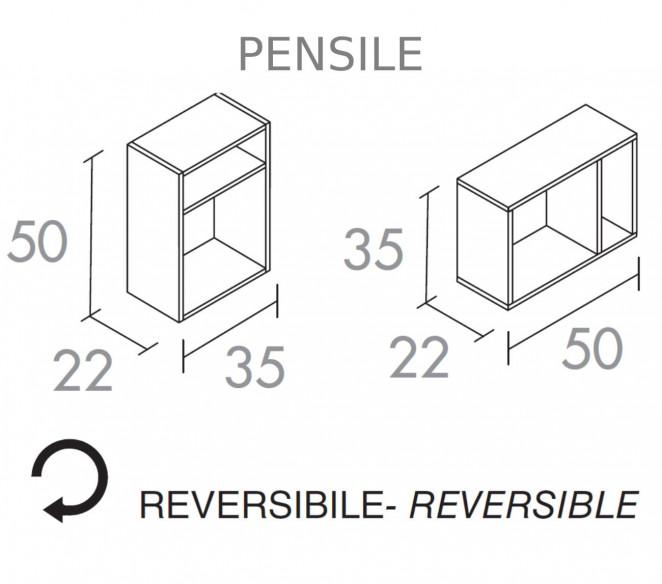 Disegno tecnico pensile laterale composizione bagno Chara