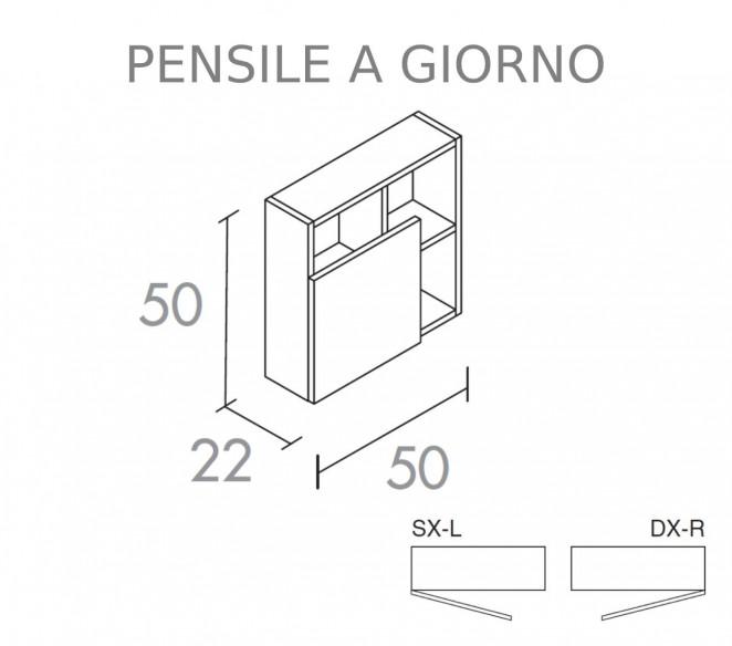 Disegno tecnico Pensile a giorno Anta inferiore composizione Elettra