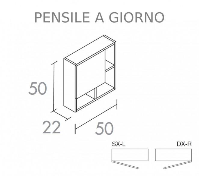 Disegno tecnico pensile con anta superiore composizione Elettra