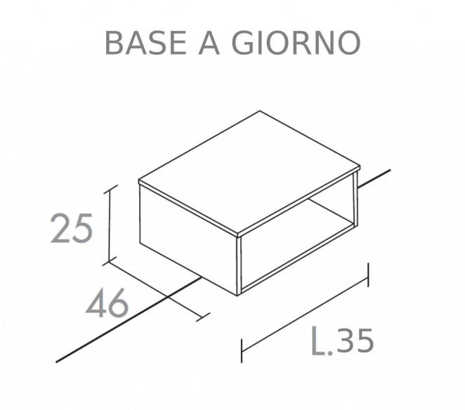 Disegno tecnico base bagno L35 composizione Elettra