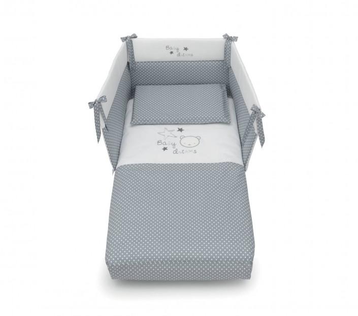 completo lettino neonato con set paracolpi Baby Dream Grigio - MIT Design Store