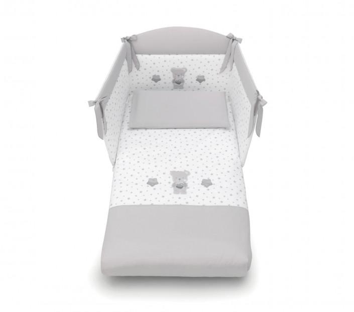 completo lettino neonato con paracolpi Nice  Grigio - MIT Design Store
