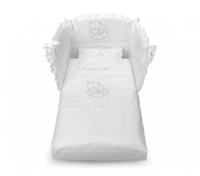 Piumone e paracolpi lettino neonato Elegant Bianco-Avorio - MIT Design Store