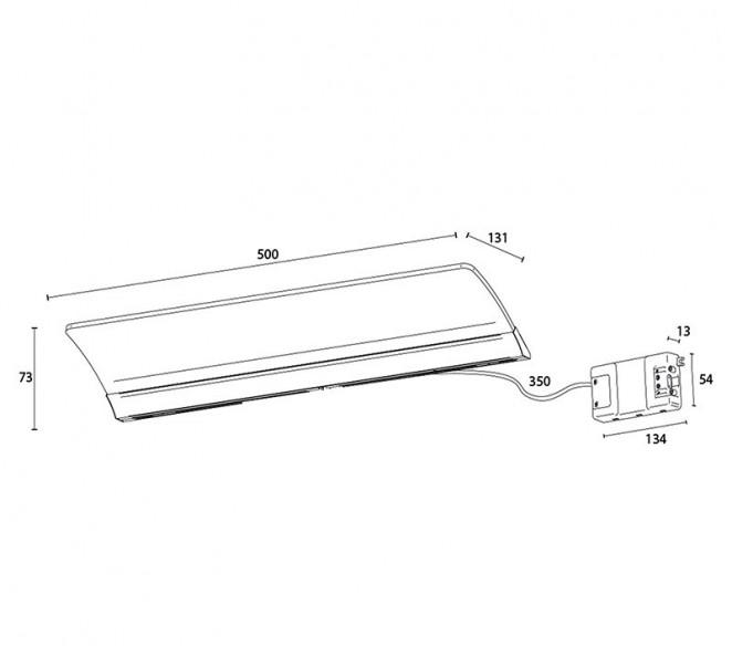 Disegno tecnico lampada Angela 500mm
