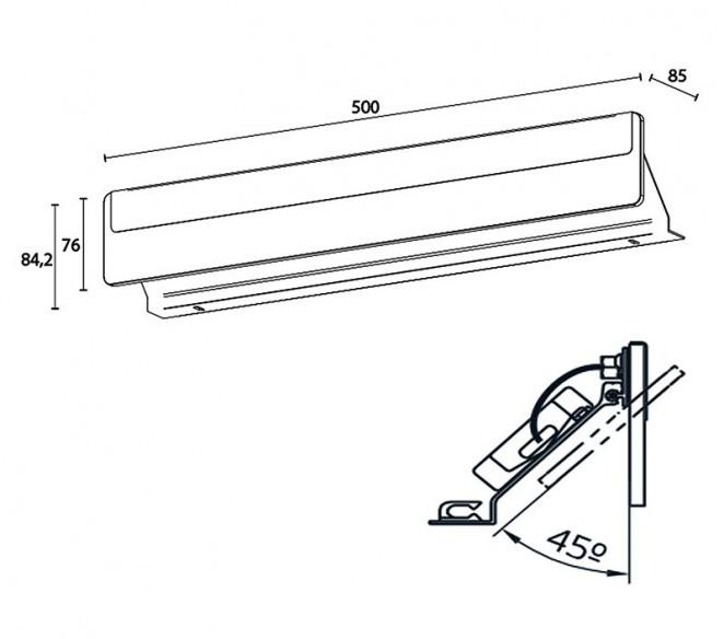 Disegno tecnico lampada Karin S2 500mm