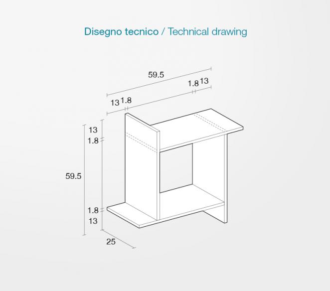Disegno tecnico mobiletto di design Crono