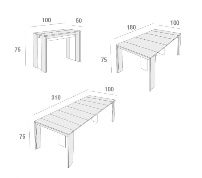 Disegno tecnico tavolo consolle allungabile Tony - MIT Design Store