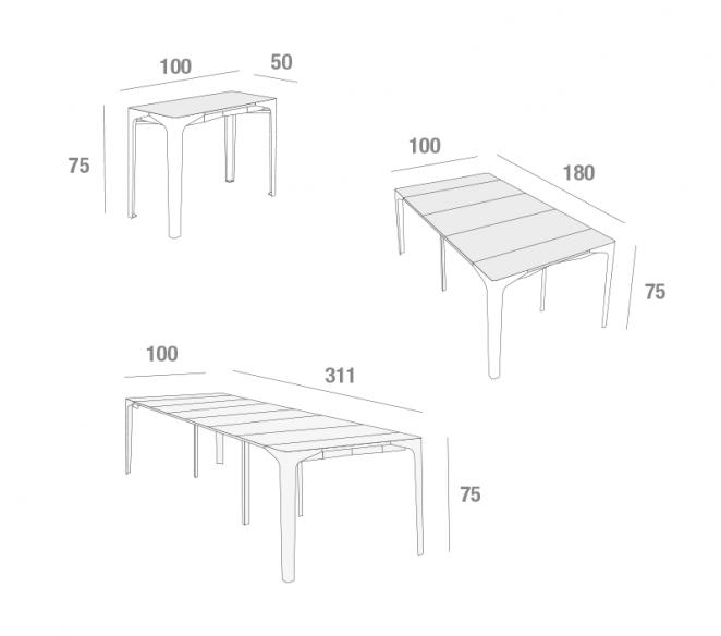 Disegno tecnico consolle allungabile Fabio - MIT Design Store