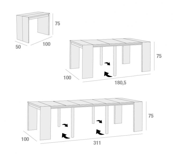 Disegno tecnico consolle allungabile Paolo - MIT Design Store