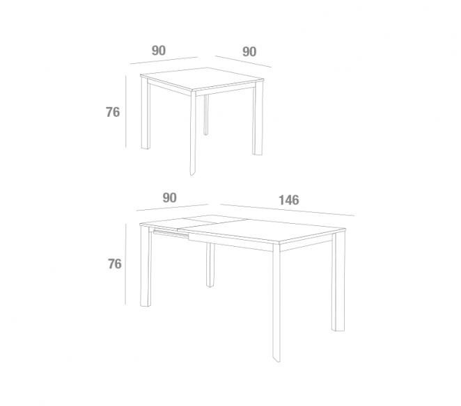 Disegno tecnico tavolo quadrato Mario Super - MIT Design Store