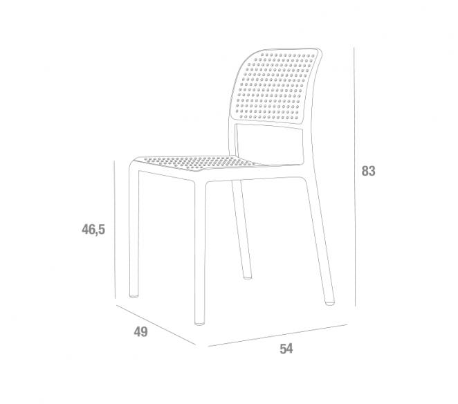 Disegno tecnico sedie in polipropilene La Primavera Bora - MIT Design Store
