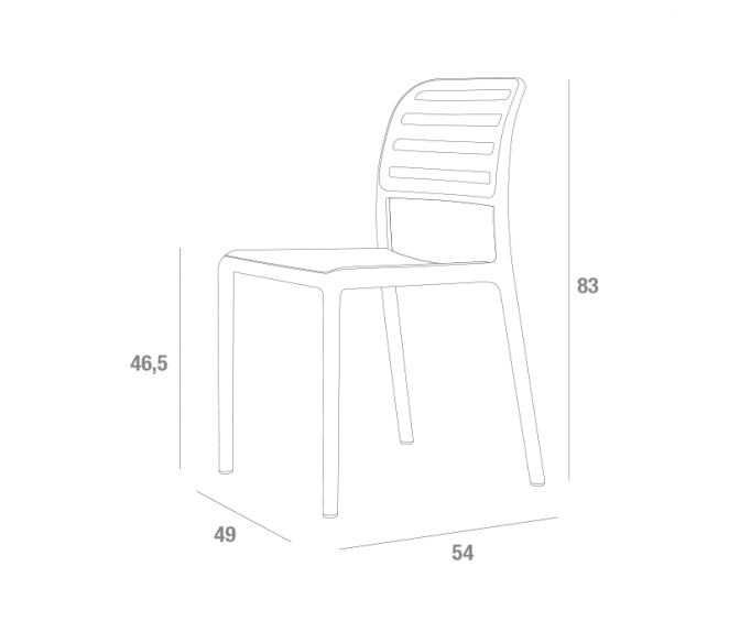 Disegno tecnico sedie impilabili La Primavera Costa - MIT Design Store