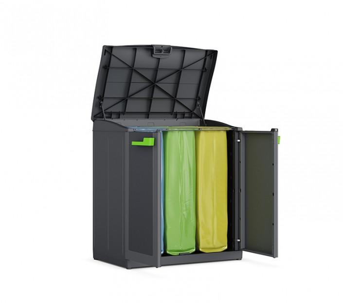 Armadietto raccolta differenziata Keter Recycling aperto