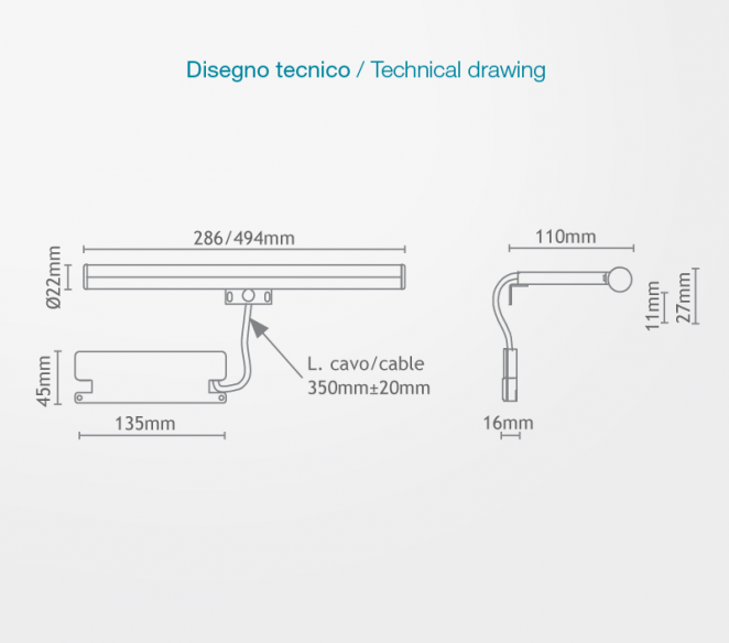 Disegno tecnico Irene S3 280mm